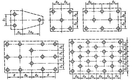 Схемы свайных кустов из 3, 5,
